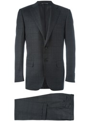 Canali Checked Pattern Two Piece Suit Grey