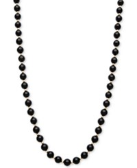 Macy's Faceted Onyx Bead Necklace 3Mm In 10K Gold Black