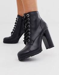 Aldo Marille Chunky Sole Heel Hiker Boot Black