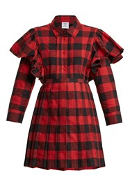 Vetements Point Collar Checked Cotton Flannel Dress Red Multi