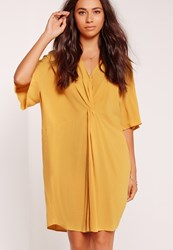 Missguided Kimono Sleeve Knot Front Dress Yellow Yellow