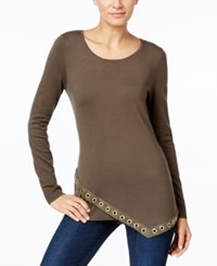 Inc International Concepts Asymmetrical Grommet Trim Tunic Only At Macy's Olive Drab