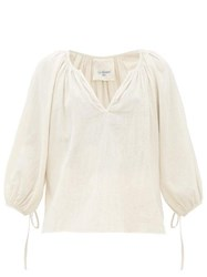Loup Charmant Capucine Tie Cuff Cotton Blouse Ivory