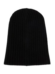 The Elder Statesman Ribbed Beanie Hat Black