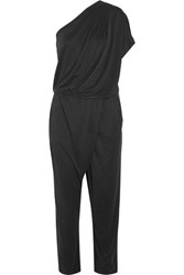 By Malene Birger Disquon One Shoulder Modal Blend Jersey Jumpsuit Black
