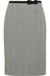 Prada Grosgrain Trimmed Plaid Wool Skirt Gray
