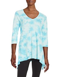 Kensie Waffle Knit Asymmetrical Pullover Sky