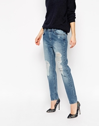 Selected Roxy Boyfriend Jeans With Distressed Knee Mediumbluedemin