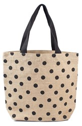 Cathy's Concepts Personalized Polka Dot Jute Tote Black Black Plain