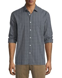 Billy Reid John T Grid Print Sport Shirt Gray