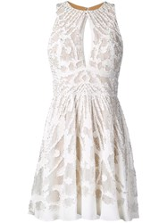 Zuhair Murad Lace Embroidered Mini Dress White