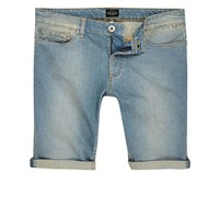 River Island Mens Big And Tall Blue Faded Slim Fit Denim Shorts