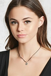 Forever 21 Layered Pendant Necklace Black Silver