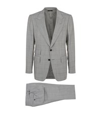 Tom Ford Prince Of Wales Check Shelton Suit Male Grey
