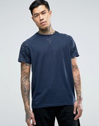 Jack And Jones T Shirt With Printed Raglan Navy
