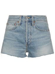 Re Done High Waisted Shorts Cotton Blue