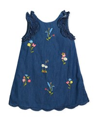 Mayoral Denim Floral Embroidered Dress Size 3 7 Blue