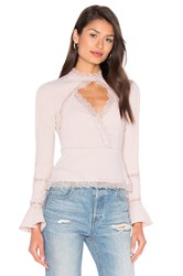 Nicholas Diamond Cut Out Lace Top Blush