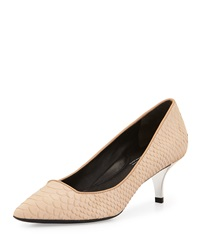 Kenneth Cole New York Pearl Snake Embossed Suede Low Heel Pump Light Tan