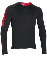 Under Armour Men's Colorblocked Long Sleeve Performance Shirt Black Red