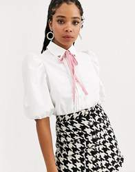 Sister Jane Puff Sleeve Shirt With Heart Collar In Cotton White