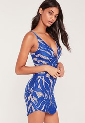 Missguided Strappy Plunge Lace Contrast Bodycon Dress Cobalt Blue Blue