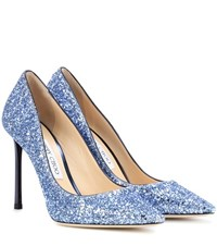 Jimmy Choo Romy 100 Glitter Pumps Blue