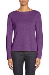 Petite Women's Eileen Fisher Knit Bateau Neck Top African Violet