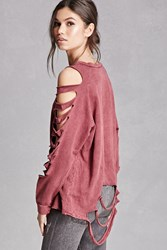 Forever 21 Distressed Ladder Cutout Top