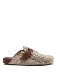 Isabel Marant Mirvin Backless Tweed Clogs Beige Multi