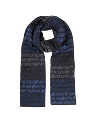 Roberto Cavalli Signature Woven Wool Blend Men's Scarf Blue