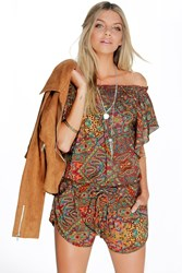 Boohoo Off The Shoulder Ruffle Paisley Playsuit Brown