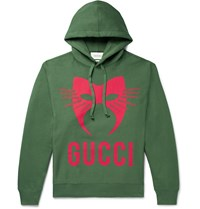 Gucci Oversized Printed Loopback Cotton Jersey Hoodie Green