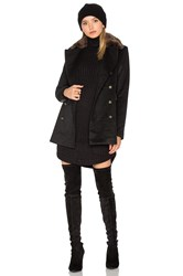 Capulet Emmy Double Breasted Coat With Faux Fur Collar Black