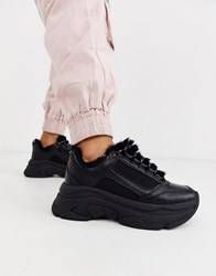 Stradivarius Borg Lined Chunky Trainers In Black