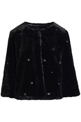 Joie Nayland Crystal Embellished Faux Fur Jacket Black
