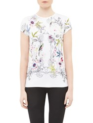Ted Baker Hazelto Passion Flower Fitted T Shirt Ivory