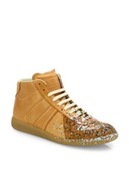 Maison Martin Margiela Replica Paint Splatter Leather Mid Top Sneakers
