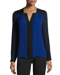 Elie Tahari Sheyda Colorblocked Silk Blouse Blue