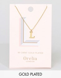 Orelia Gold Plated Large L Initial Necklace Gold
