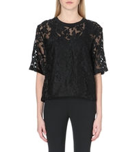 Clover Canyon Floral Embroidered Sheer Top Black
