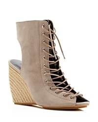 Rebecca Minkoff Elle Lace Up Open Toe Espadrille Wedge Booties Sand