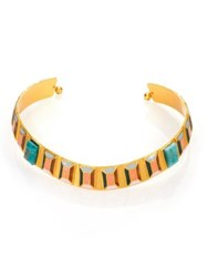 Paula Mendoza Faceted Emerald And Enamel Choker Necklace Gold Emerald