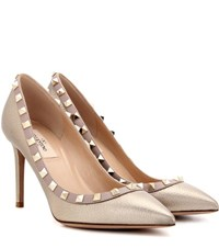 Valentino Rockstud Metallic Leather Pumps Silver