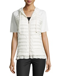 Moncler Short Sleeve Puffer Cardigan White