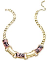 Thalia Sodi Gold Tone Wide Link Pink Snakeskin Inspired Statement Necklace Only At Macy's