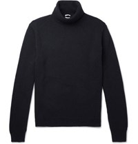 Massimo Alba Watercolour Dyed Cashmere Rollneck Sweater Navy
