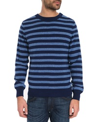 A.P.C. Round Neck Blue Striped Dominique Sweater In Wool And Cashmere