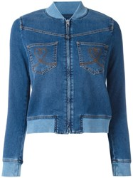 Love Moschino Denim Bomber Jacket Blue