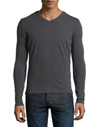 Antony Morato Faux Leather Shoulder Long Sleeve Tee Gray